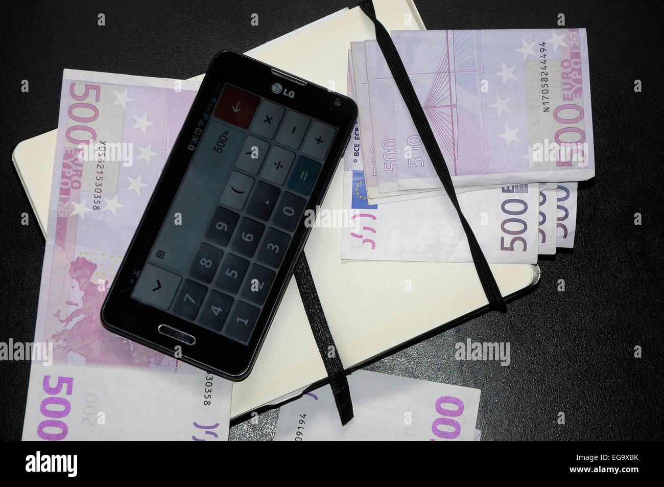 euros on 500 euros  money EEC, CEE € - Stock Image