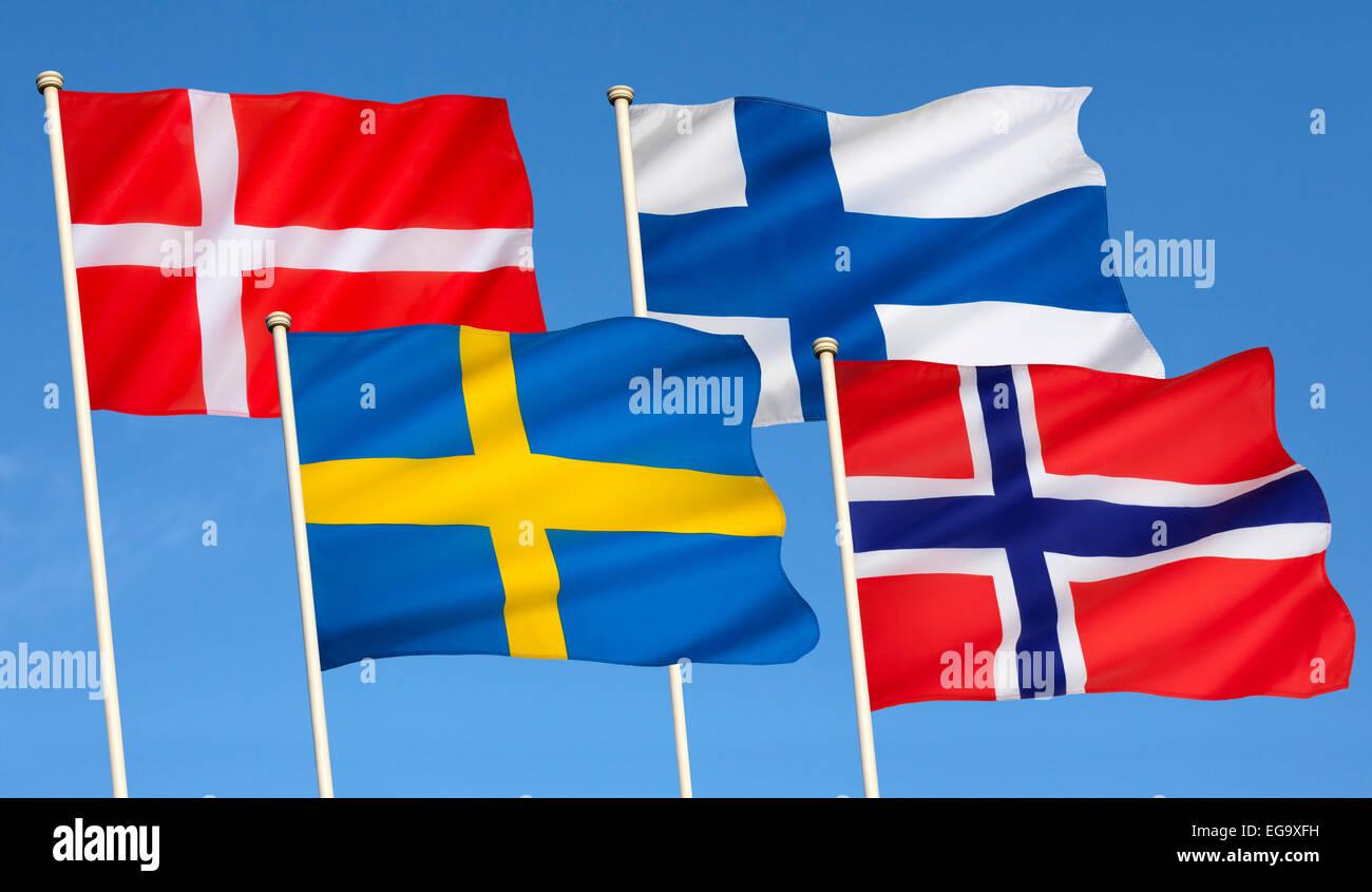 Flags of Scandinavia - Stock Image