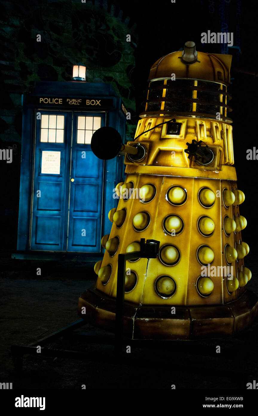 Dr Who installation as part of Light Night in Nottingham, Nottinghamshire England UK - Stock Image