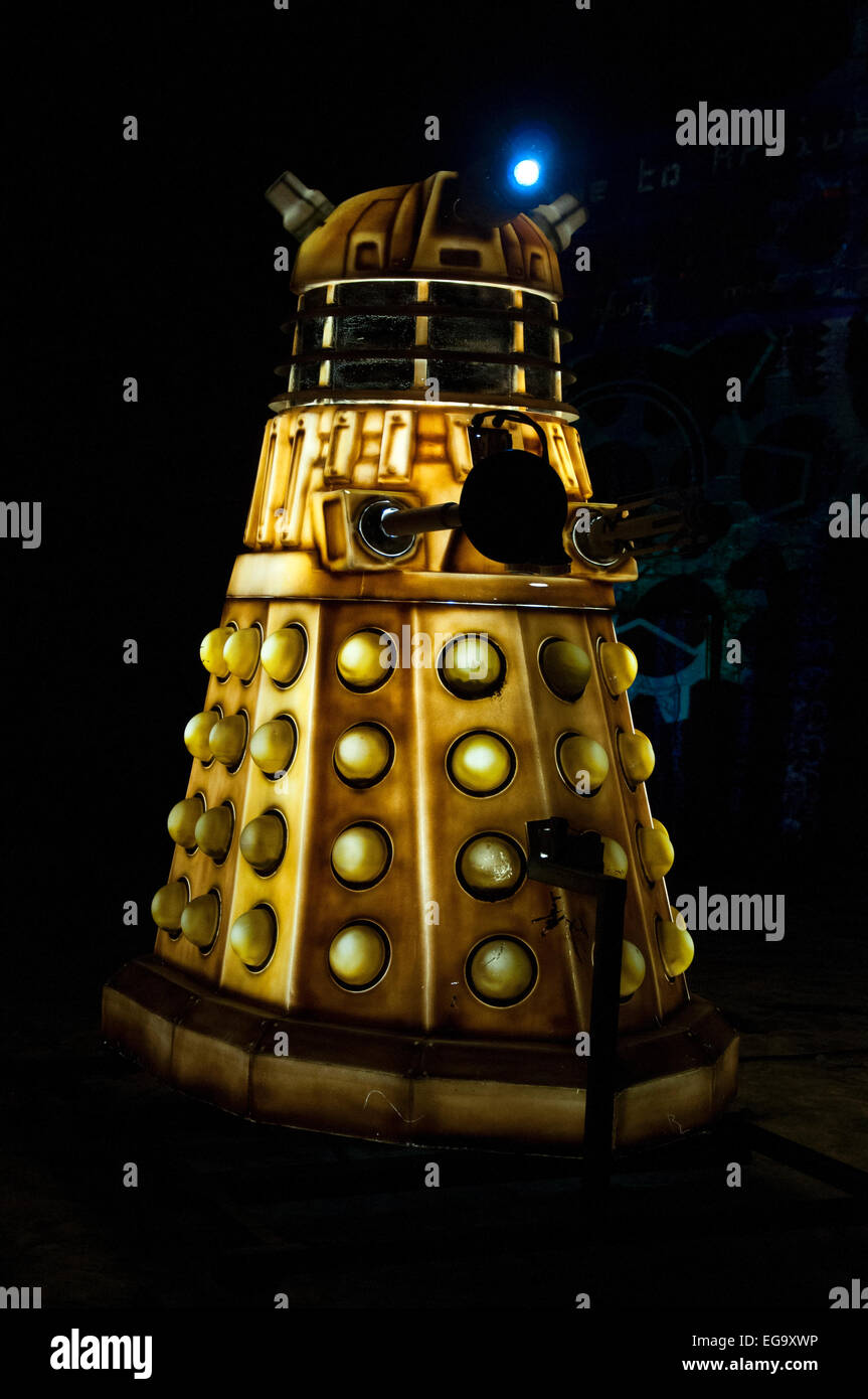Dalek installation as part of Light Night in Nottingham, Nottinghamshire England UK - Stock Image