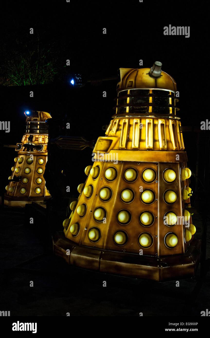 A Dalek Installation as part of Light Night in Nottingham, Nottinghamshire England UK - Stock Image