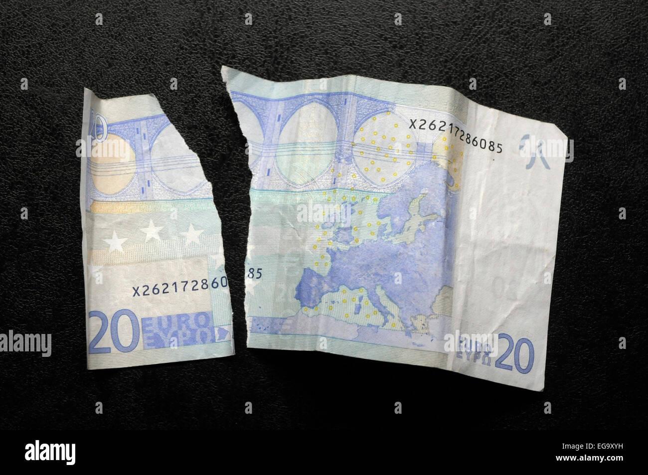 20 euros ripped € EEC MONEY - Stock Image
