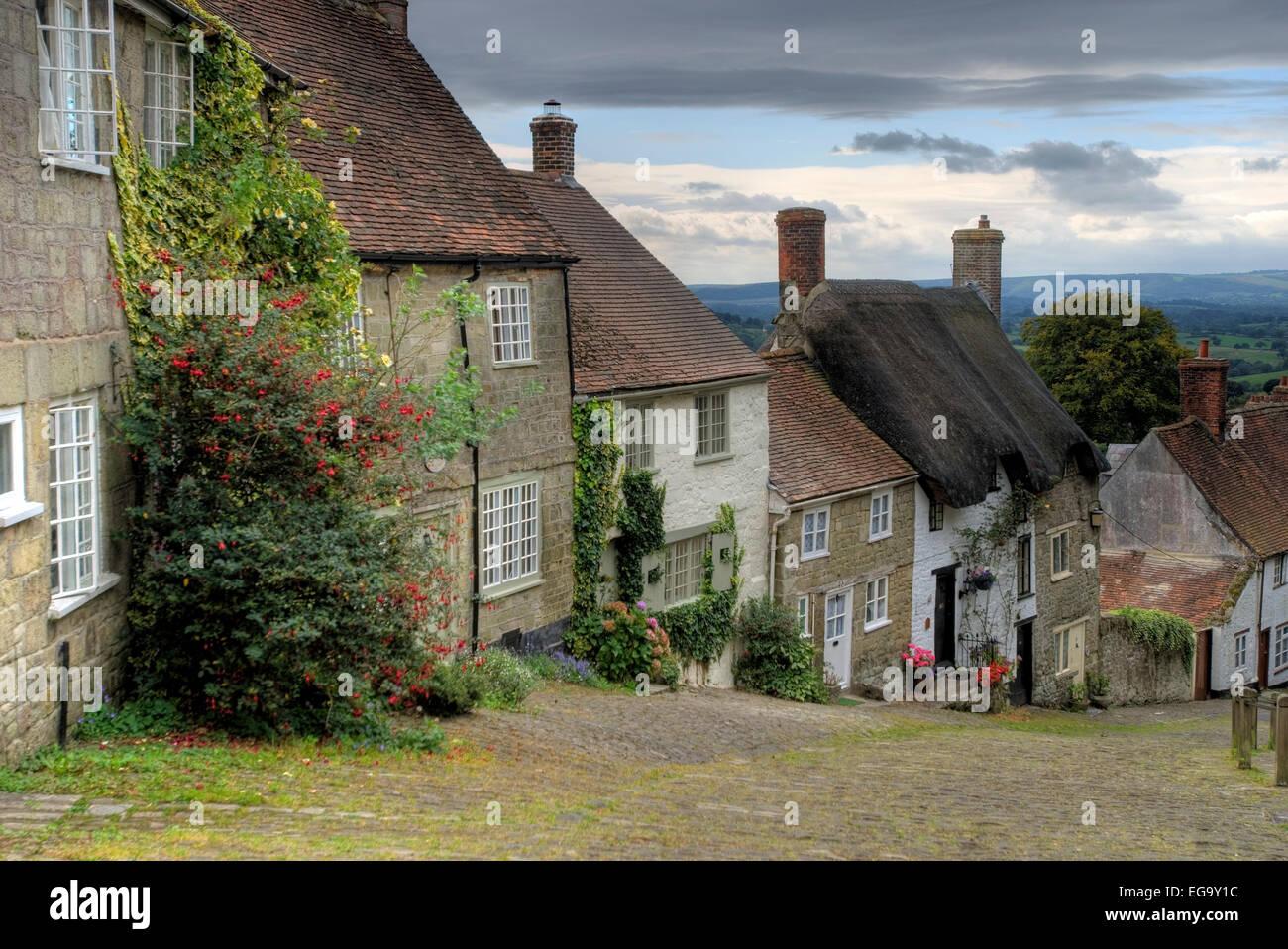 Gold Hill, Shaftesbury, Dorset, England, UK, Europe - Stock Image
