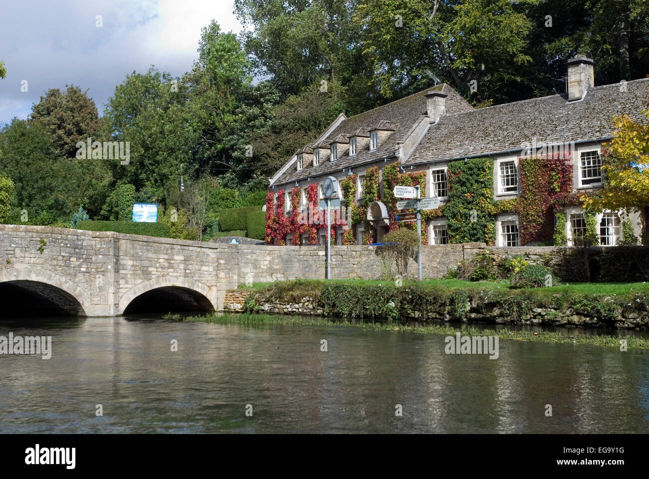 Swan hotel in Bibury, Gloucestershire, Cotswolds, England, Great Britain, Europe Stock Photo