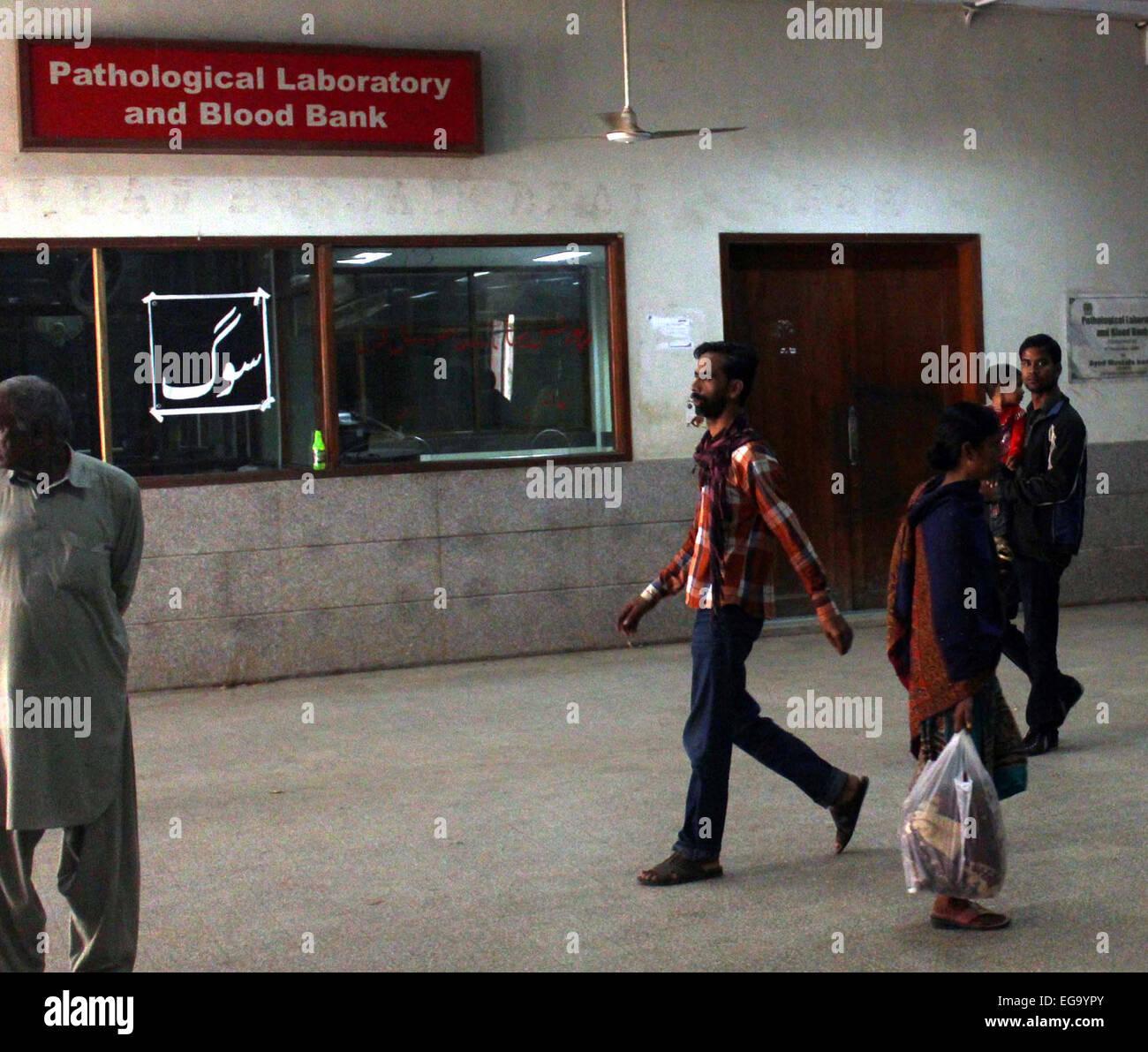 Karachi, Pakistan. 20th Feb, 2015. Pathological Laboratory and Blood Bank at Abbasi Shaheed Hospital (ASH) is closed - Stock Image