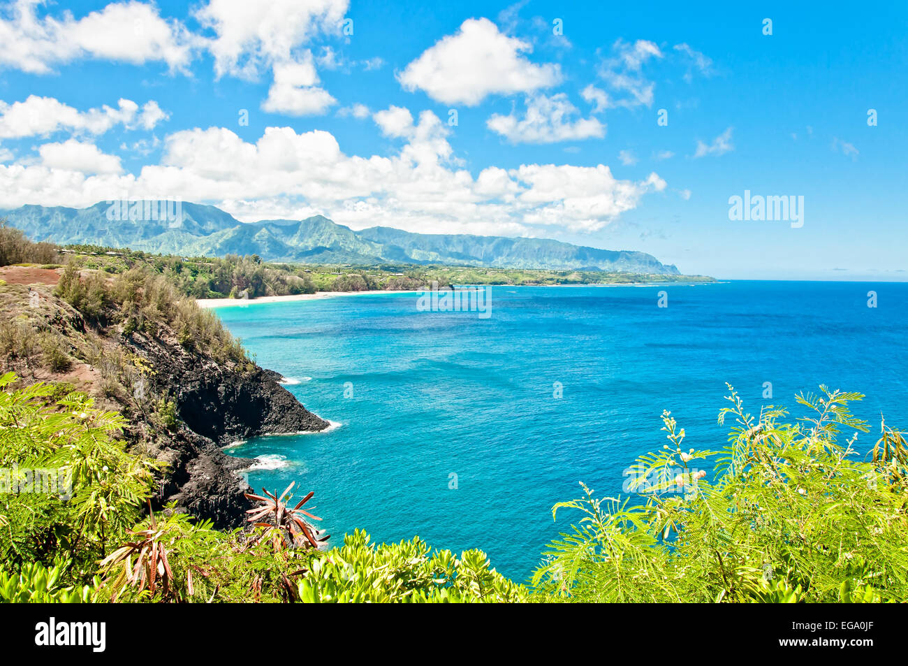 Kauai north shore in a sunny day, Hawaii Islands - Stock Image
