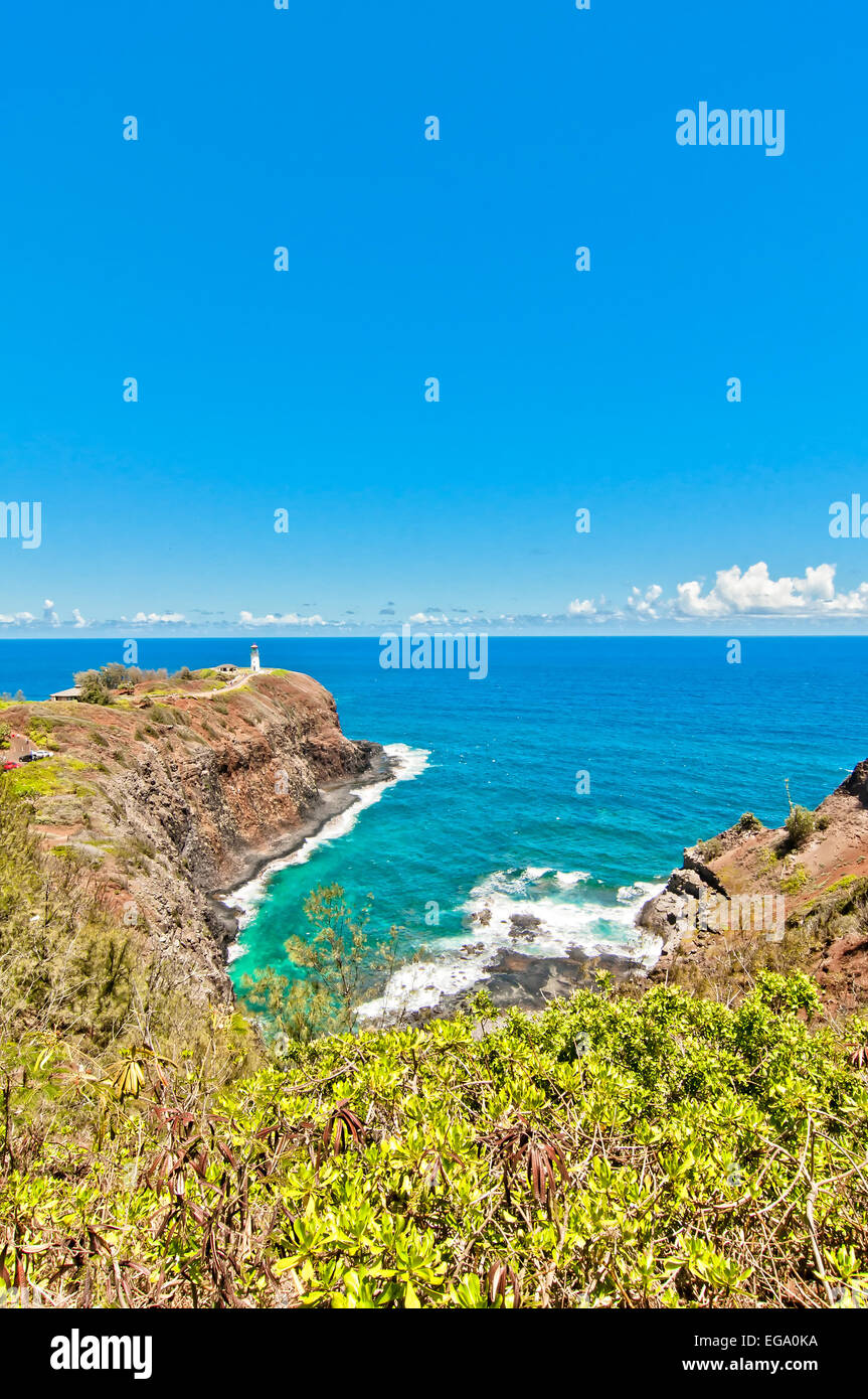 Kilauea lighthouse northern guide in Kauai island with calm ocean in background - Stock Image