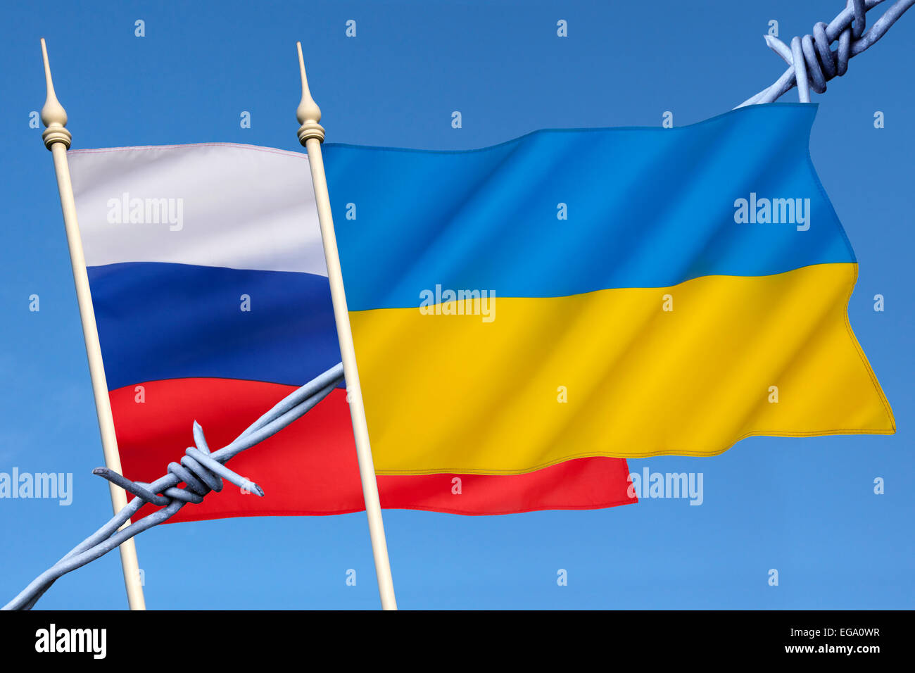 Flags of Russia and Ukraine - Stock Image