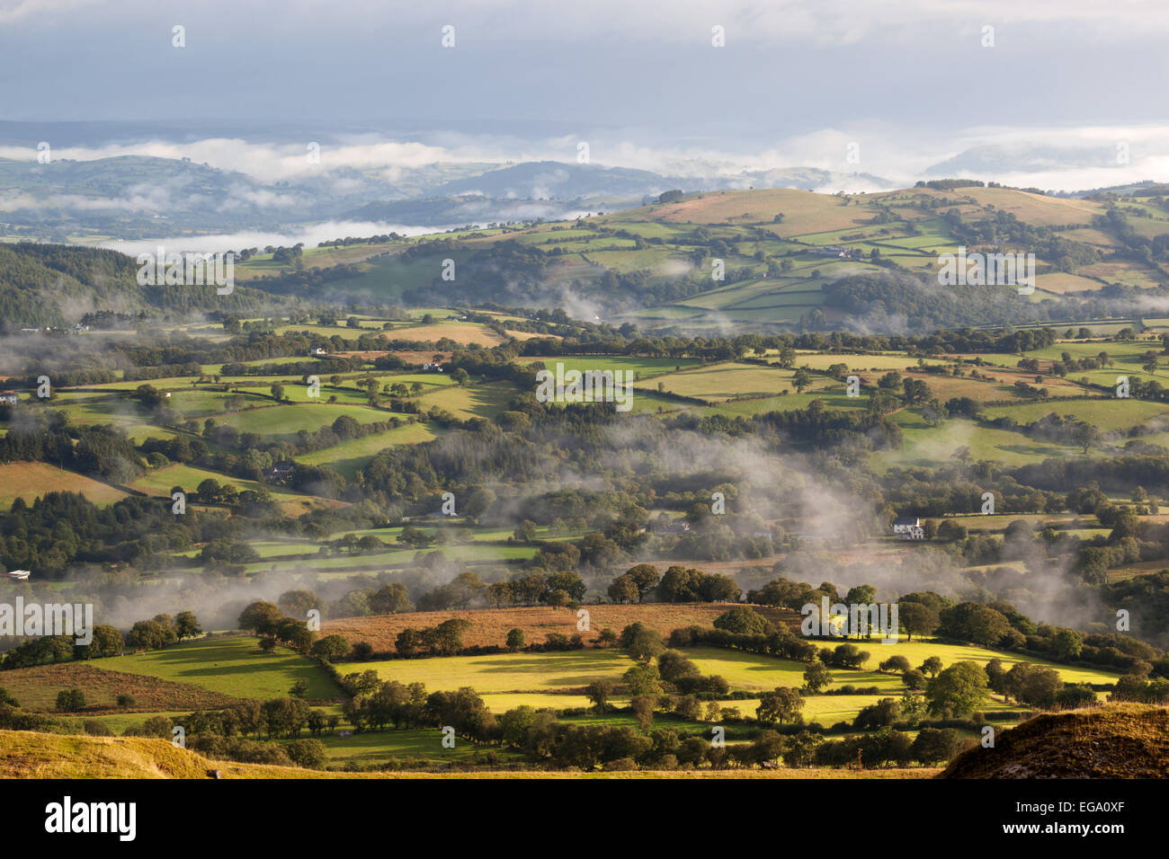 View over misty farmland from Black Mountain, near Capel Gwynfe, Brecon Beacons National Park, Carmarthenshire, - Stock Image