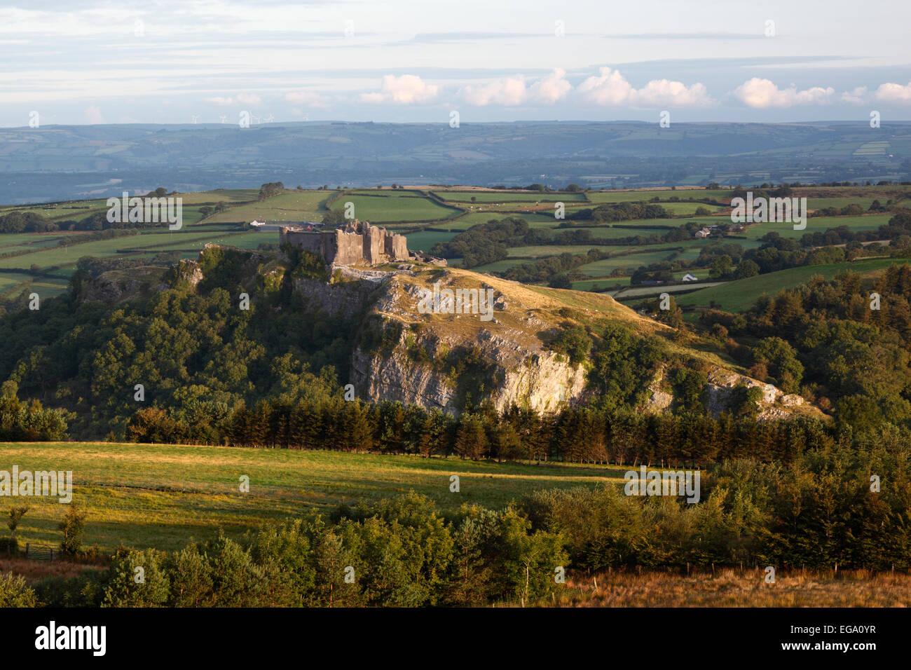 Carreg Cennen Castle, near Llandeilo, Brecon Beacons National Park, Carmarthenshire, Wales, United Kingdom, Europe - Stock Image