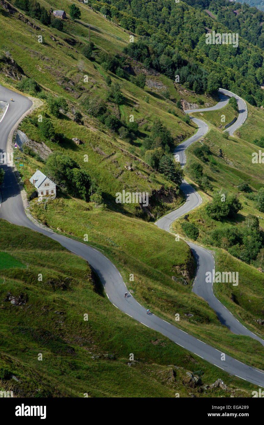 The Road Up To Luz Ardiden, Hautes Pyrenees, France Stock Photo