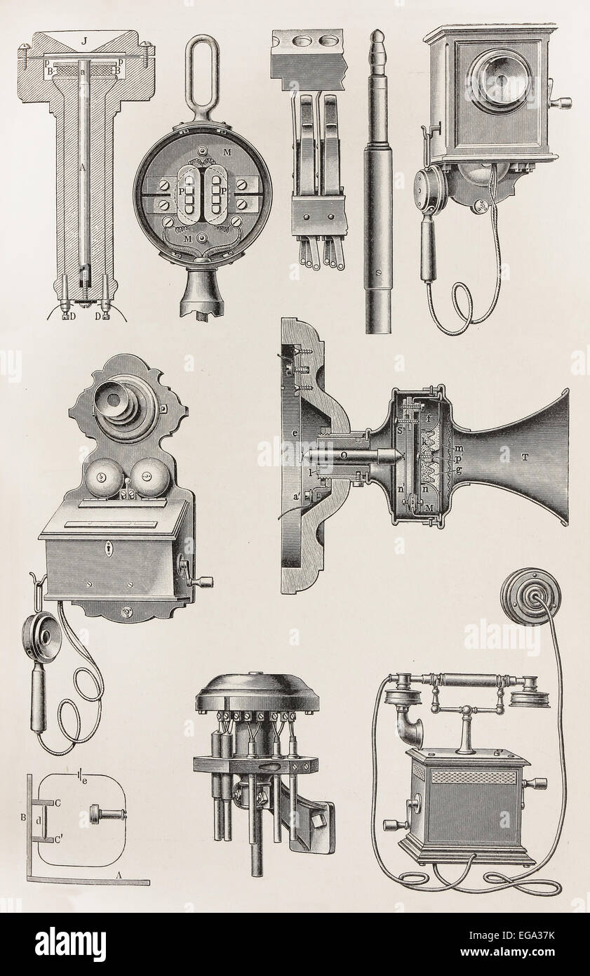 Various types of vintage telephones - Stock Image