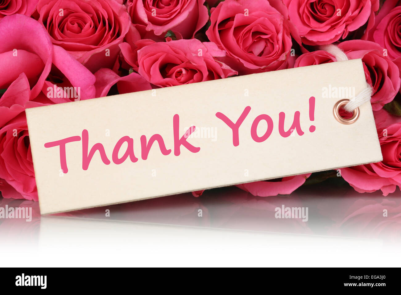 The Words Thank You On A Greeting Card With Roses Flowers On