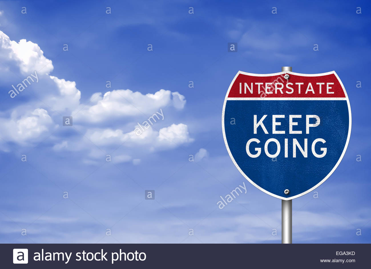 Keep going road sign concept - Stock Image