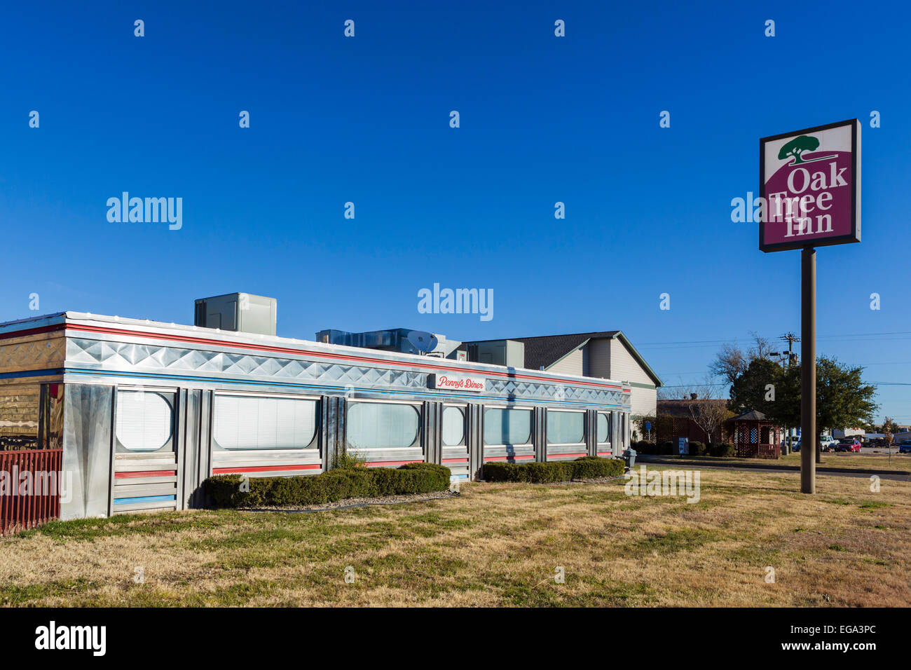 Penny's Diner at the Oak Tree Inn, a traditional railroad car style diner in Alpine, Texas, USA - Stock Image