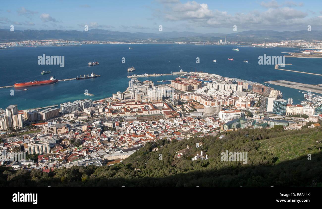 High density modern apartment block housing, Gibraltar, British overseas territory in southern Europe - Stock Image