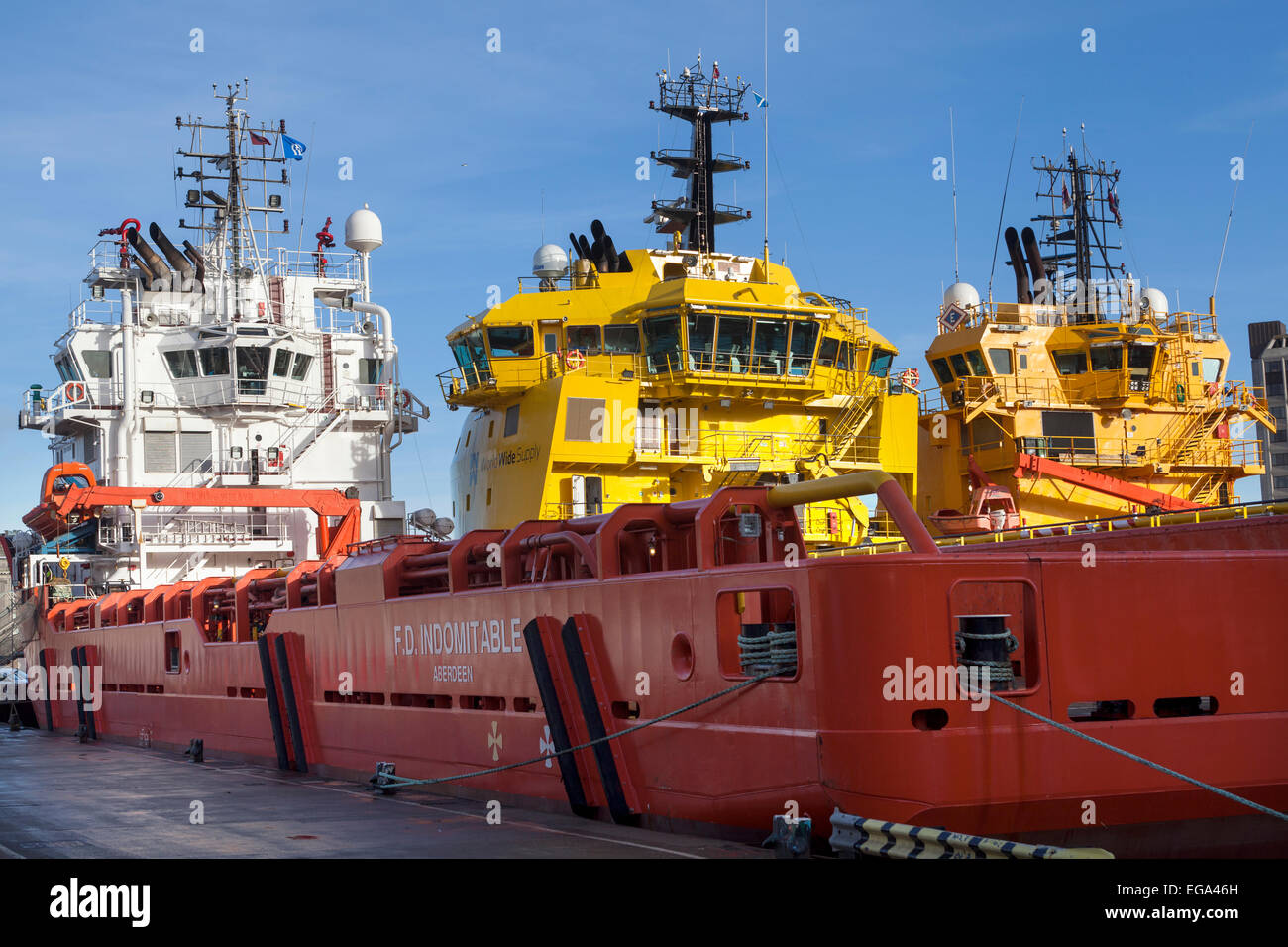 Oil Supply Ships in Aberdeen Harbour - Stock Image