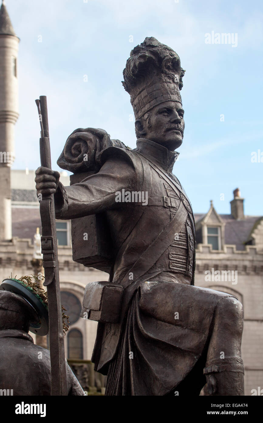 Statue to the Gordon Highlanders Castlegate Aberdeen Stock Photo