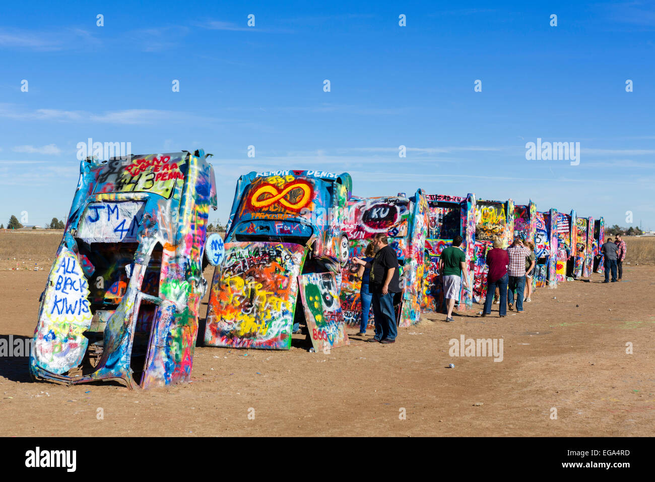 Cadillac Ranch, a public art installation just outside Amarillo,Texas, USA - Stock Image