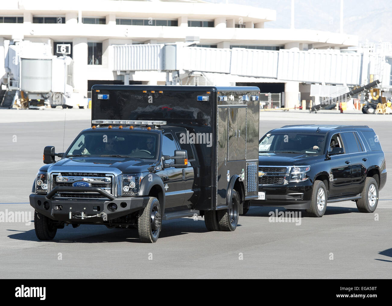 Palm Springs, California, USA. 14th Feb, 2015. President Obama arrived in Palm Springs over the Valentine's - Stock Image