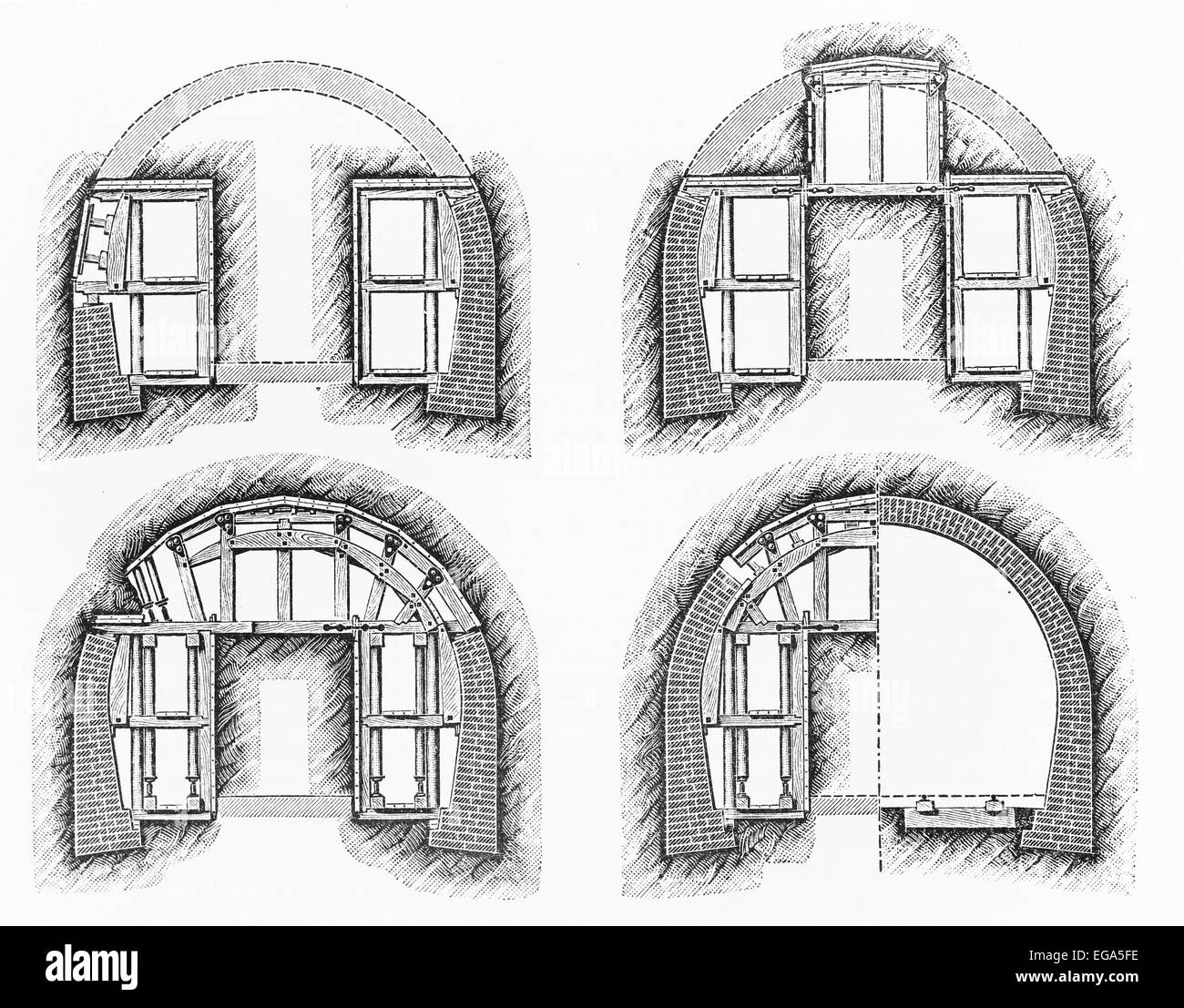 Vintage drawing representing a French design tunnel from 19th century - Stock Image