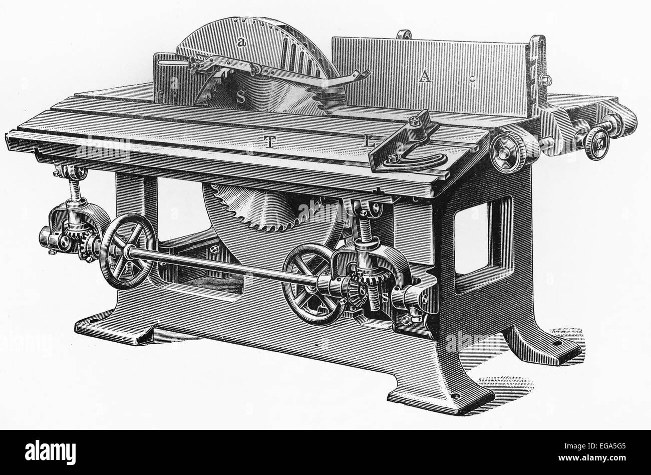 Circular saw for wood processing, from the beginning of 20th century - Stock Image