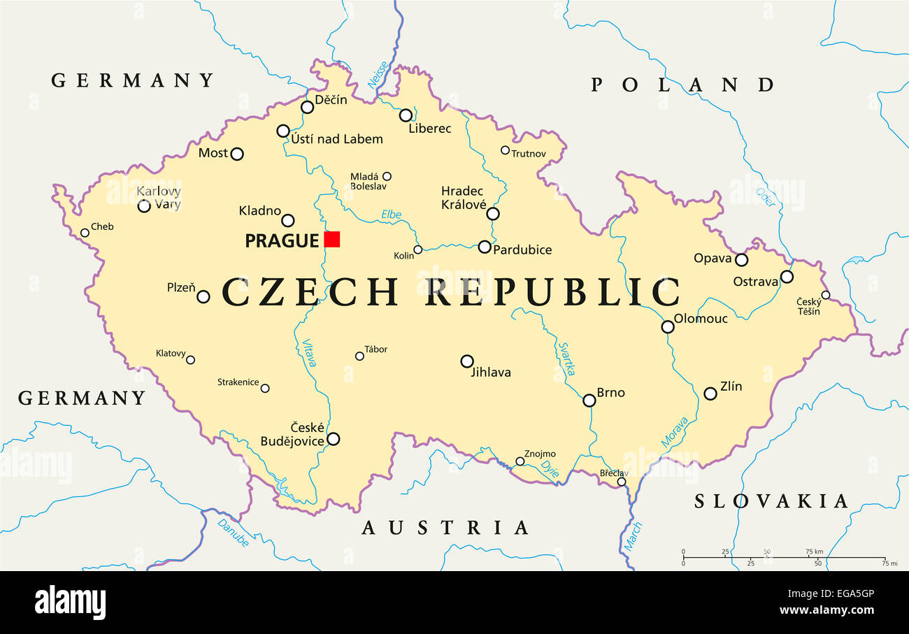 Czech Republic Political Map with capital Prague, national ...