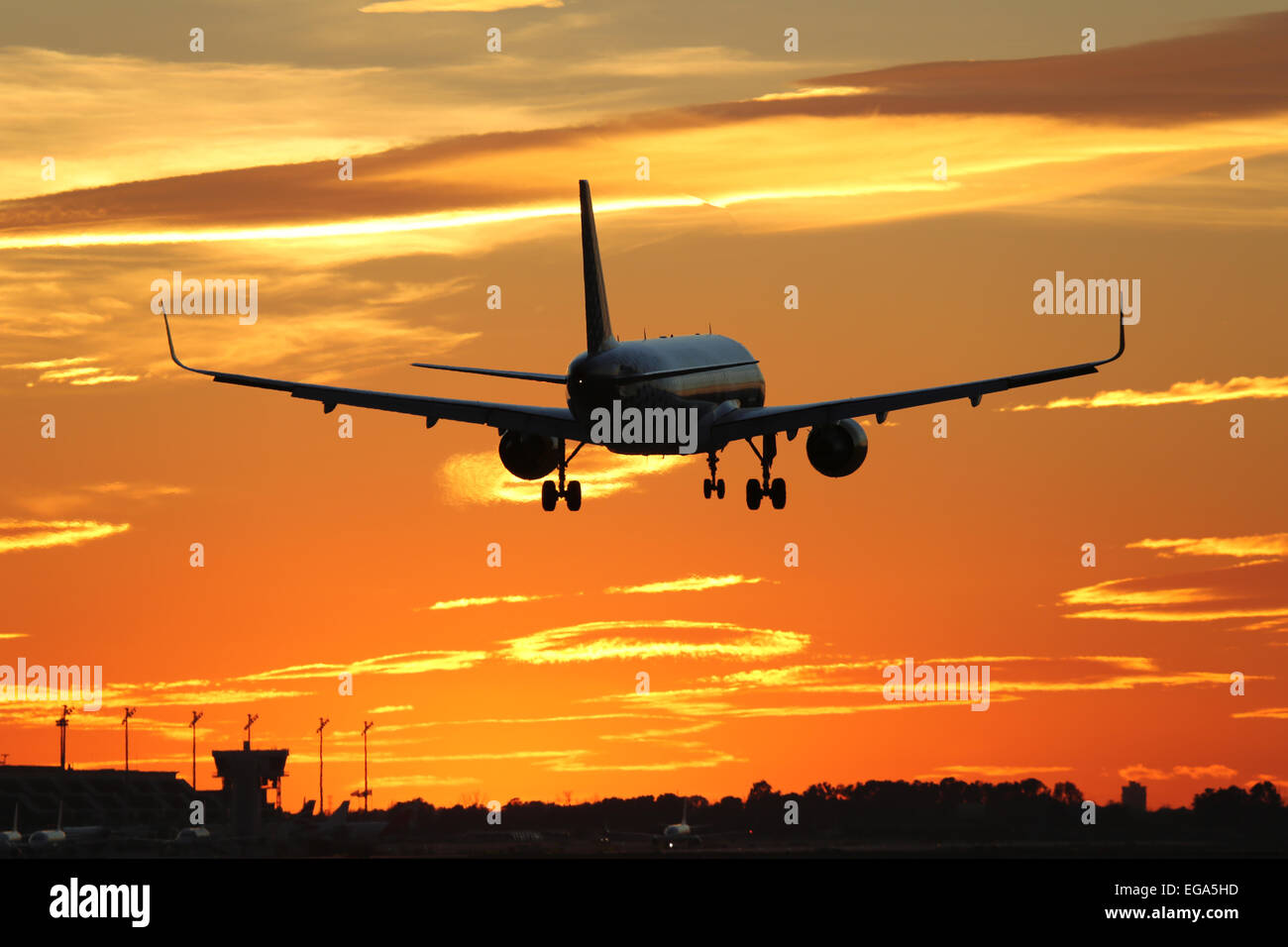 An airplane landing at an airport during sunset on vacation when traveling - Stock Image
