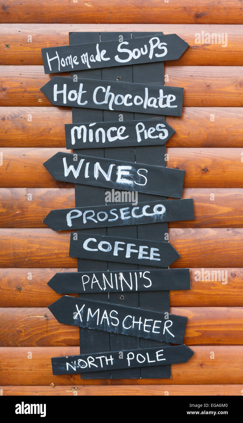 Menu board outside a stall on Manchester Christmas Markets - Stock Image