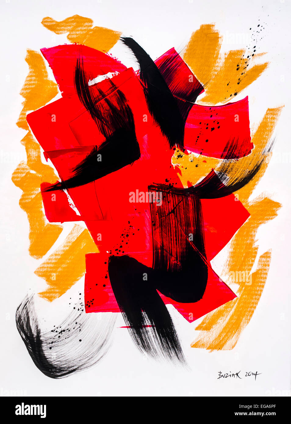 Modern abstract acrylic painting by Ed Buziak - France. Stock Photo