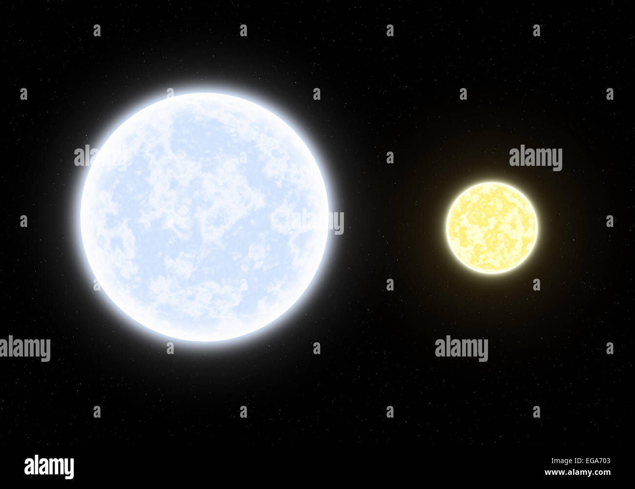 Binary system, blue and yellow star - Stock Image