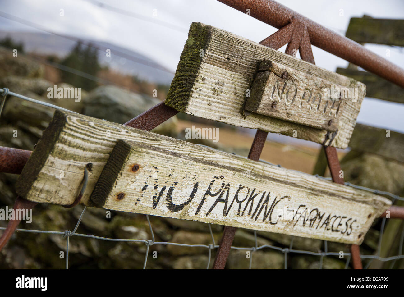 No Parking sign on a farm gate - Stock Image