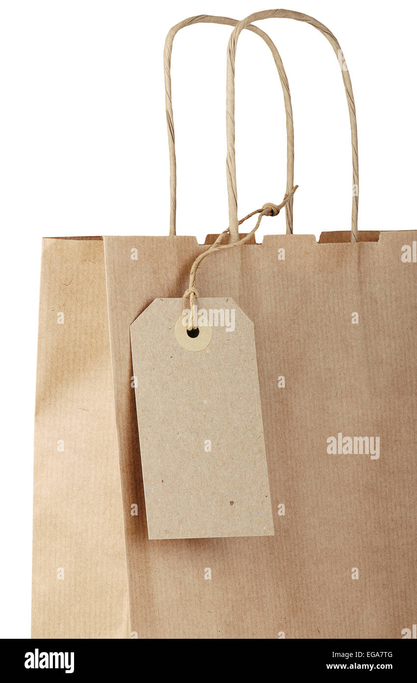 af1b47ca81 Shopping bag with tag isolated on white background. Close-up. - Stock Image
