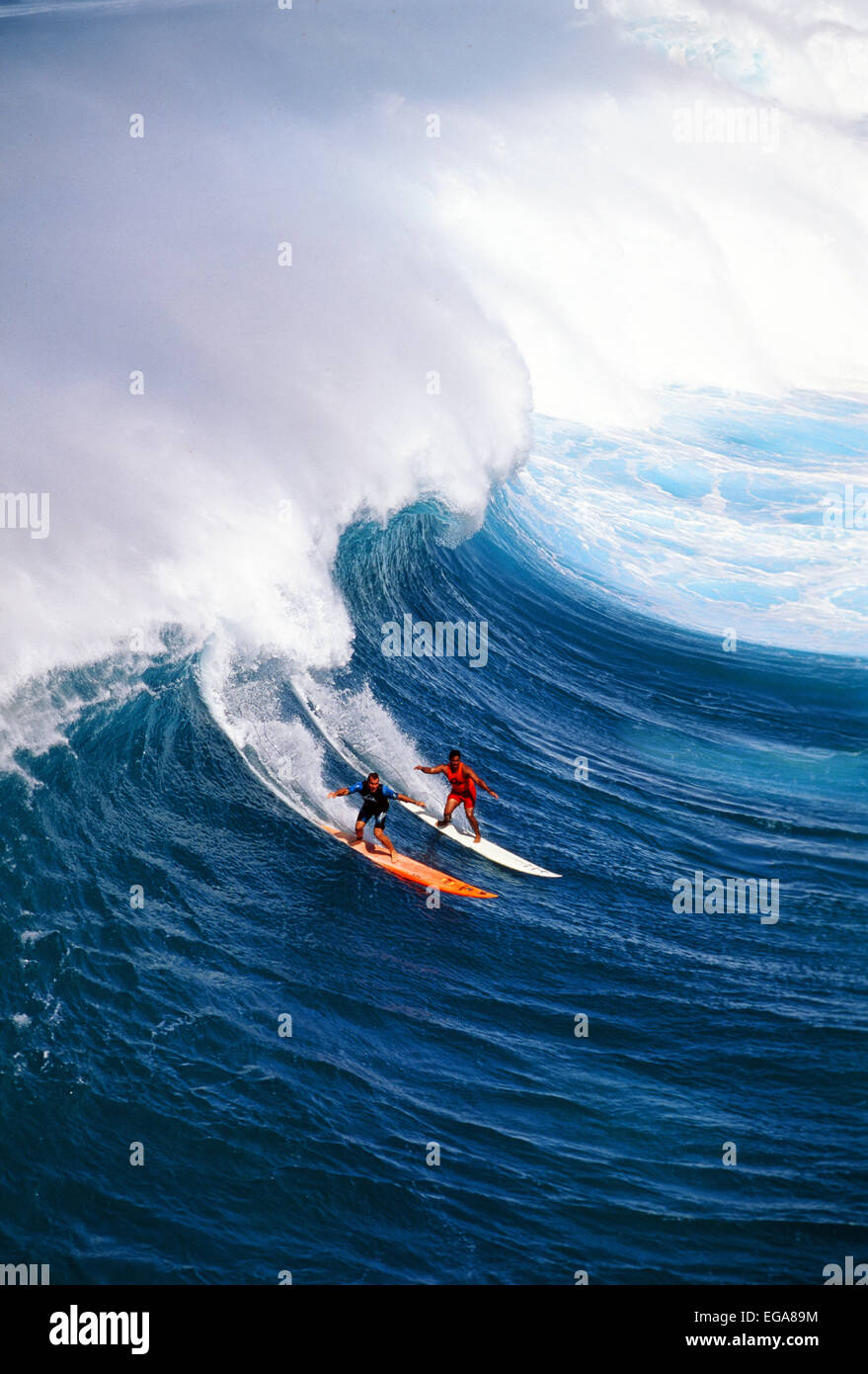 Waimea Bay, Surfing, North Shore, Oahu, Hawaii, Editorial use only no model release - Stock Image