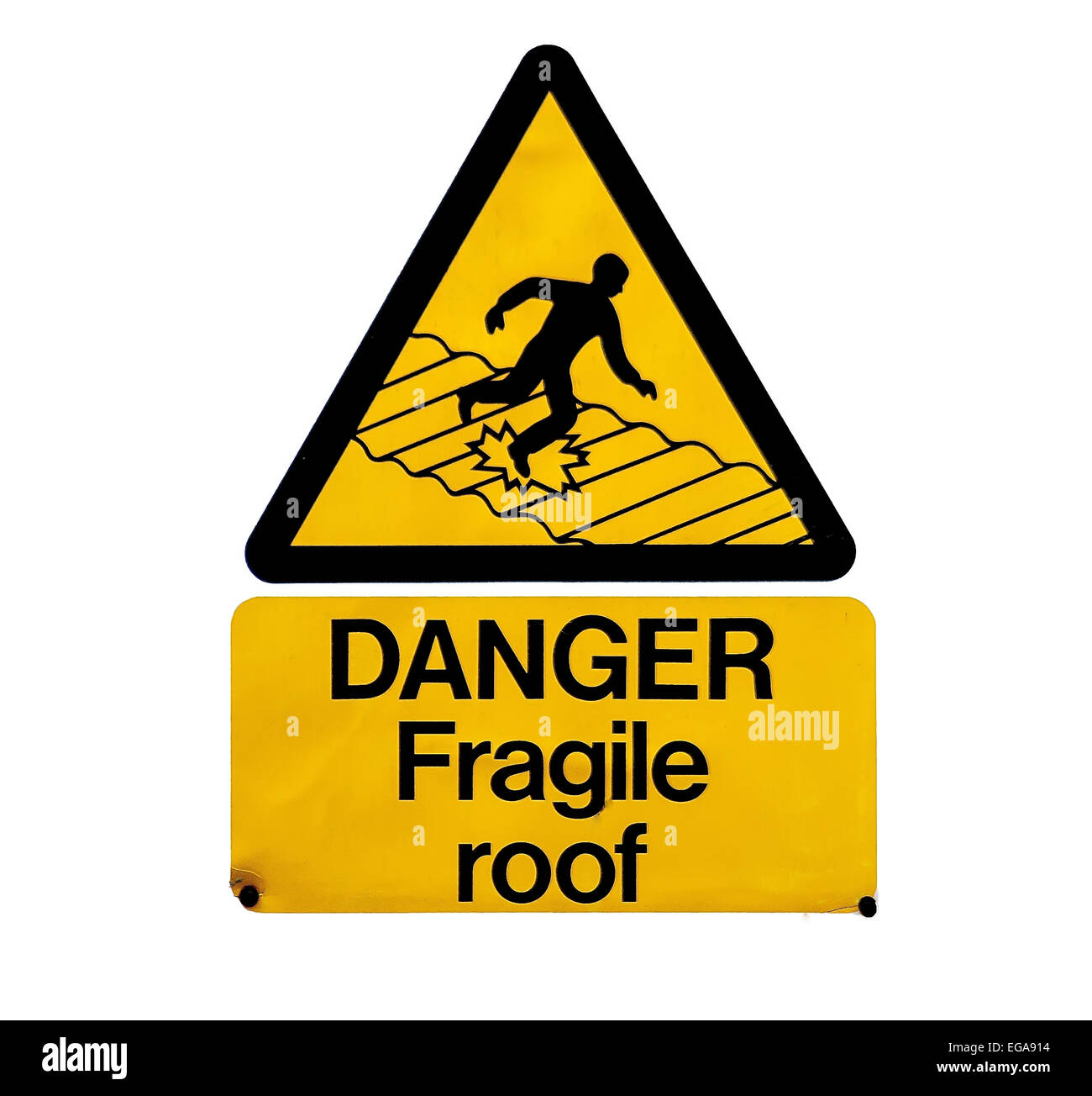 Roof,Sign,edge,Warning Sign,Danger,Slippery,Outdoors,Symbol,Rectangle,Yellow,white background,falling,steep, - Stock Image