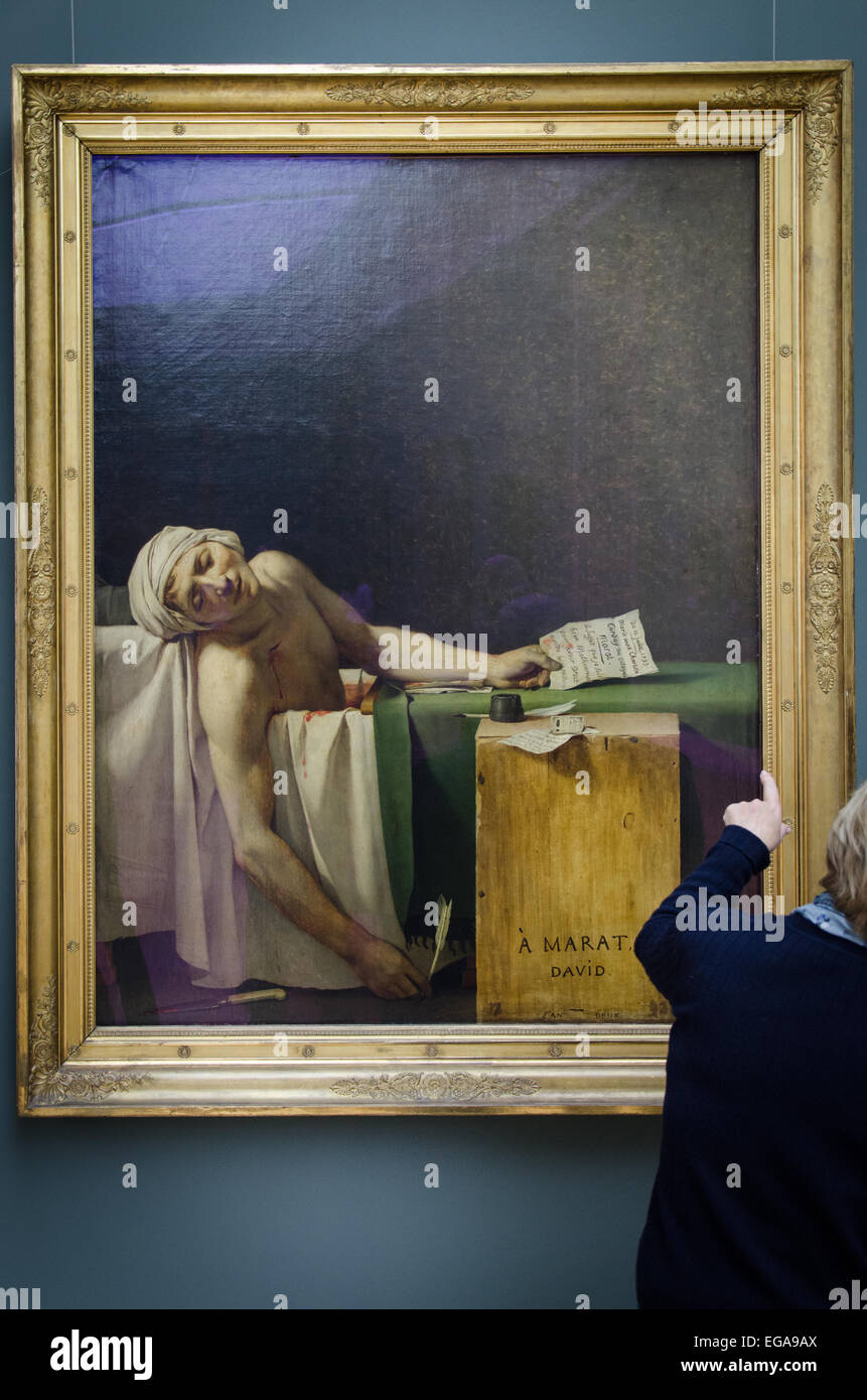 The death of Marat painting in Brussels Royal museum of fine arts (Musées royaux des beaux-arts) - Stock Image