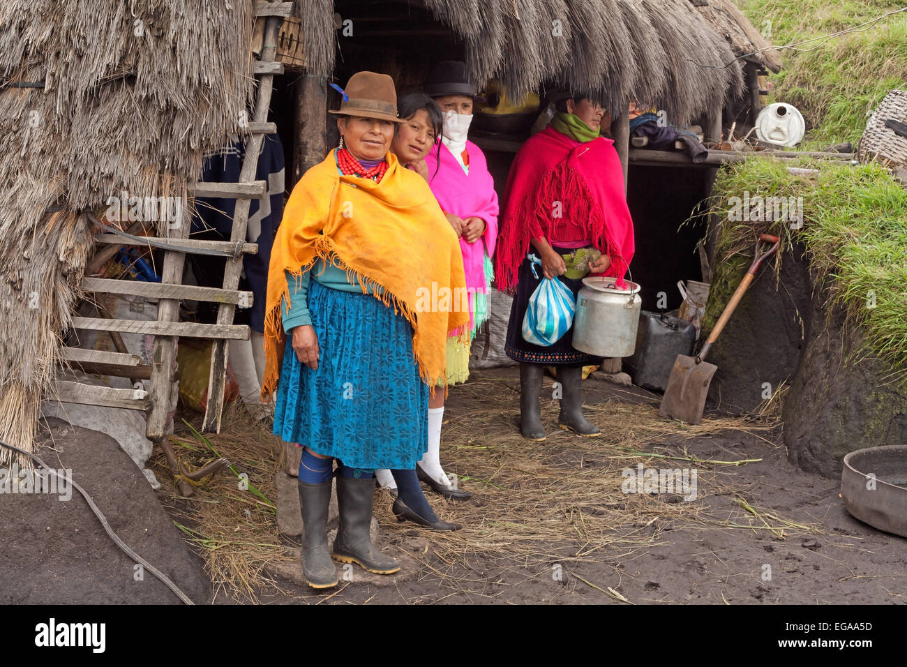 Indigenous Family Quilotoa Cotopaxi Province Ecuador - Stock Image