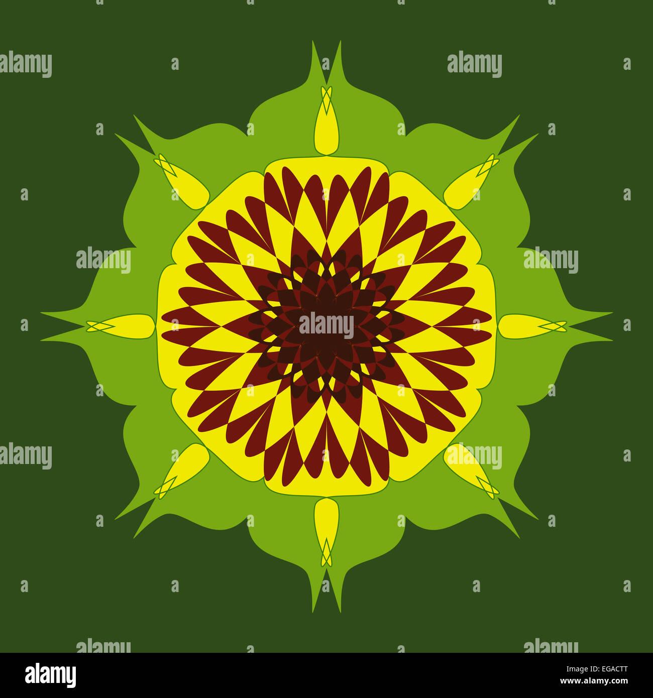 Brown yellow green artistic mandala design Stock Photo