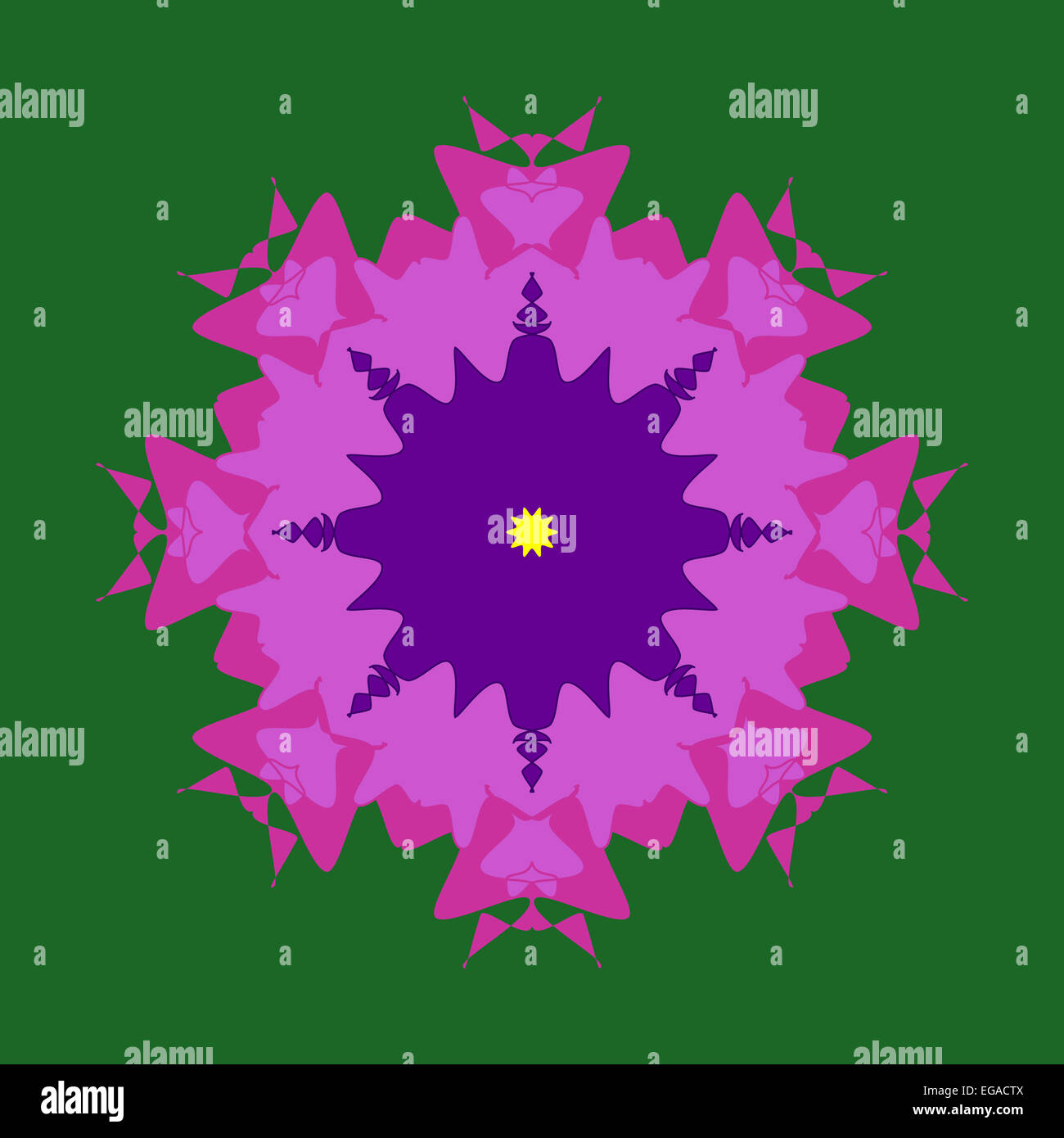 Purple pink green artistic mandala design Stock Photo