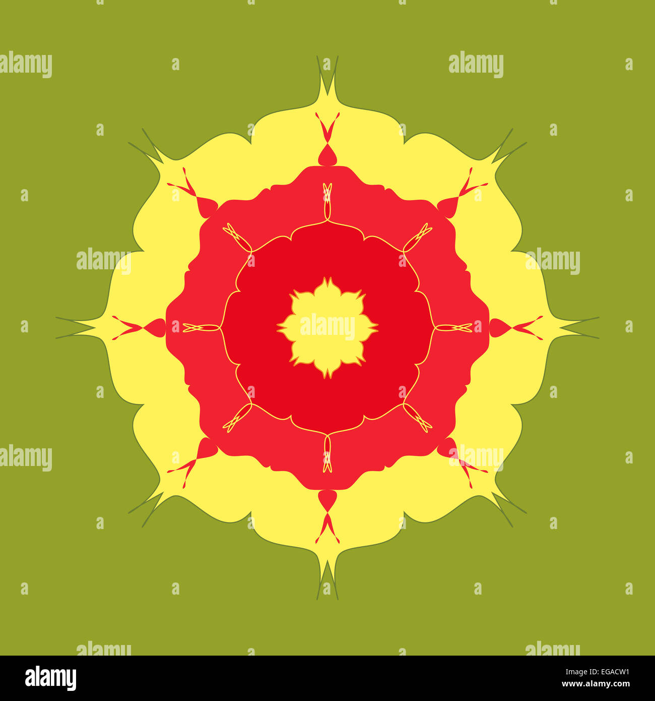 Red yellow green artistic mandala pattern Stock Photo