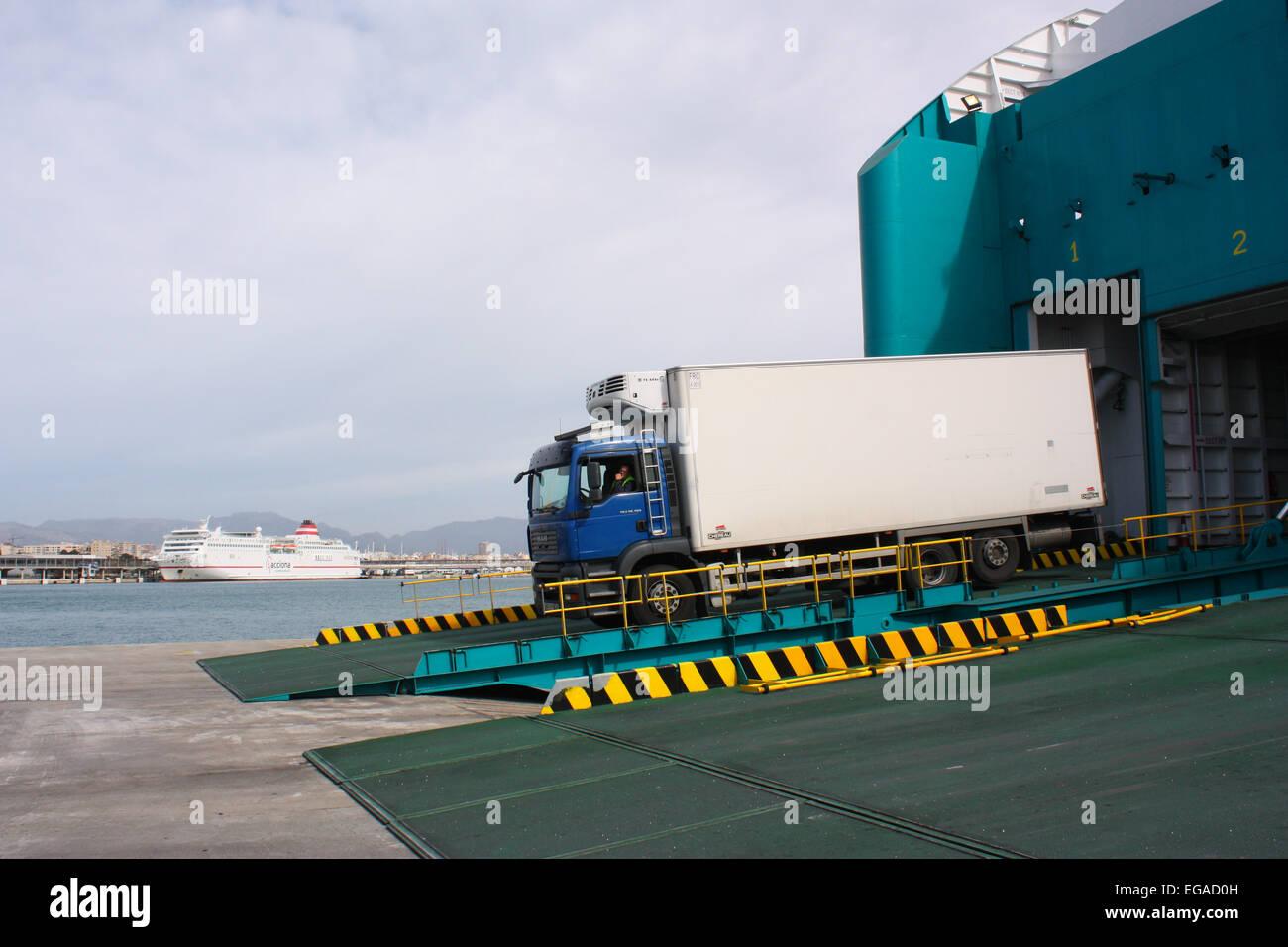 Transport truck on a ferry in Palma De Mallorca, Spain Stock Photo