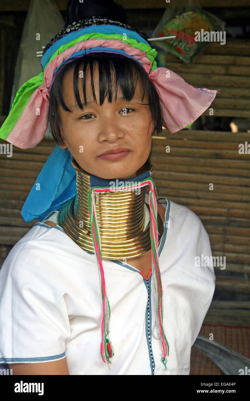 A resident of the Karen hill tribe in Chiang Mai, famous for their long necks. Stock Photo