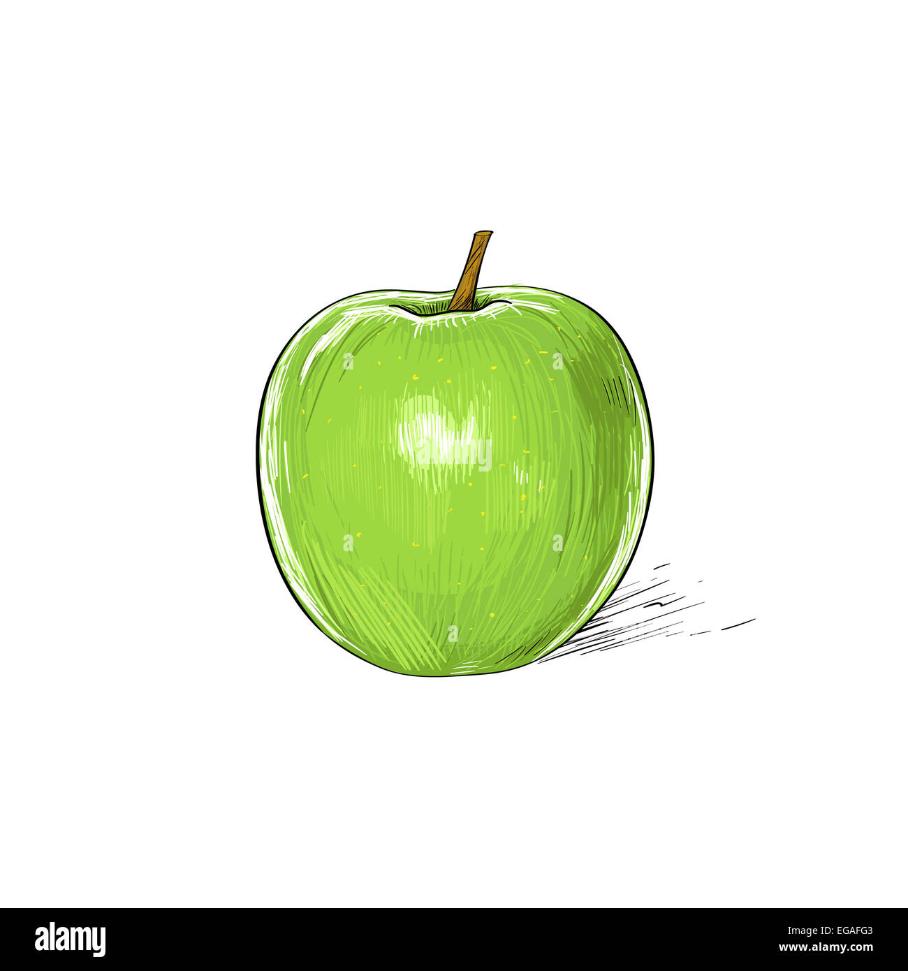 Green Apple Sketch Draw Isolated Over White Stock Photo 78907699