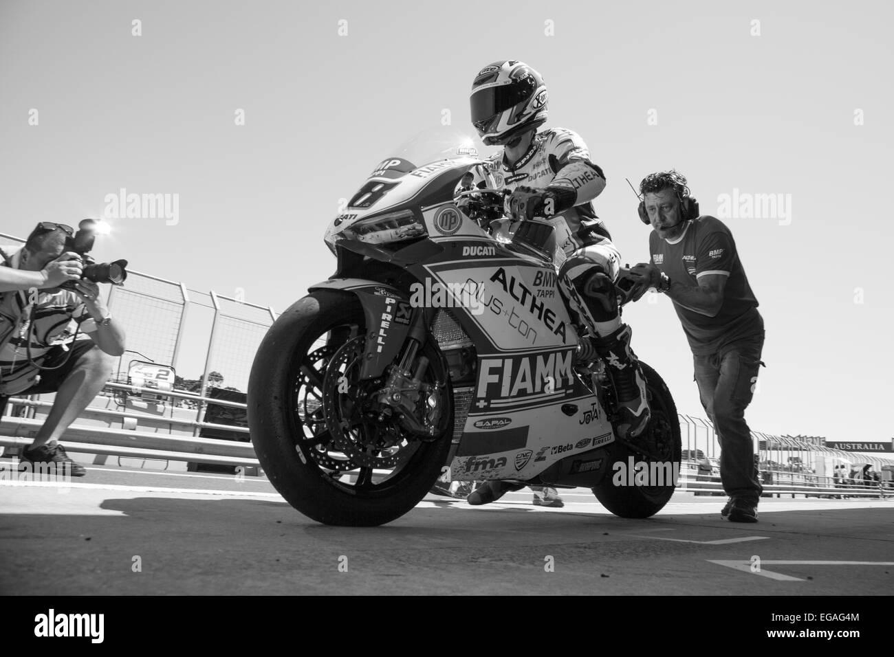 Phillip Island Grand Prix Circuit, Australia. Saturday, 21 February, 2015. Free Practice 4. Nicolas Terol heads Stock Photo