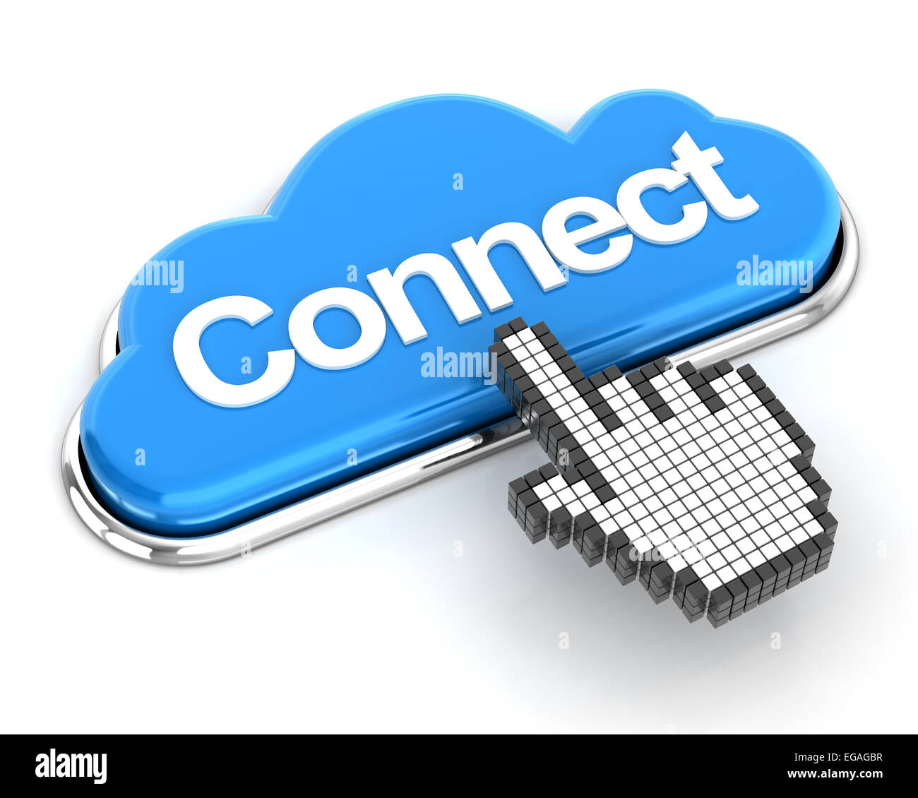 Hand cursor clicking a cloud shaped connect button, 3d render - Stock Image