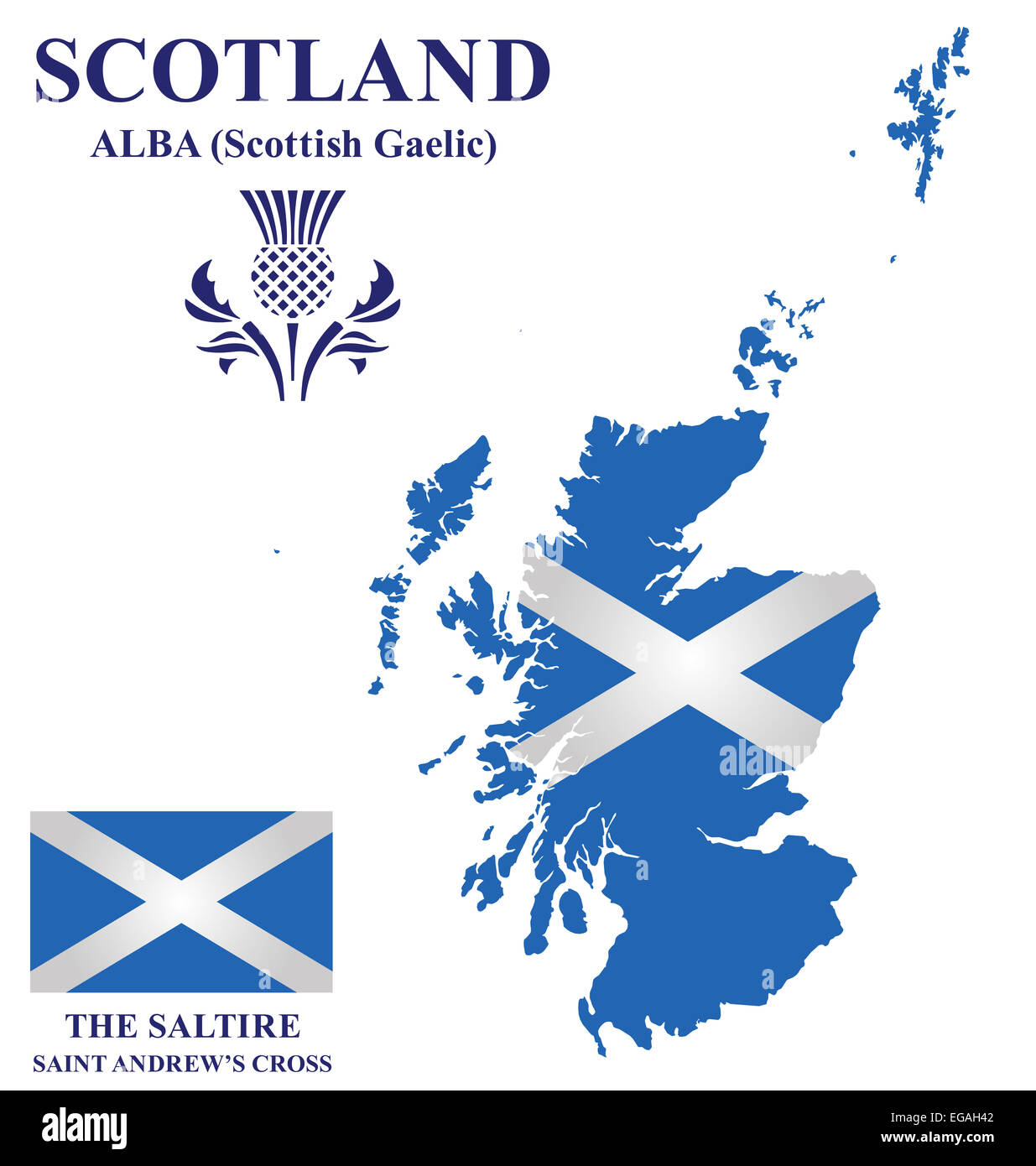 Flag and national emblem of Scotland overlaid on detailed outline map isolated on white background Stock Photo
