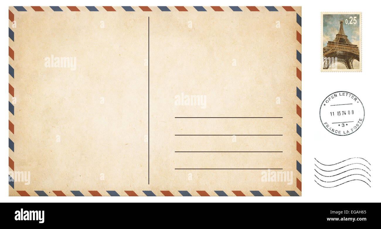old blank postcard isolated on white with post stamps set stock