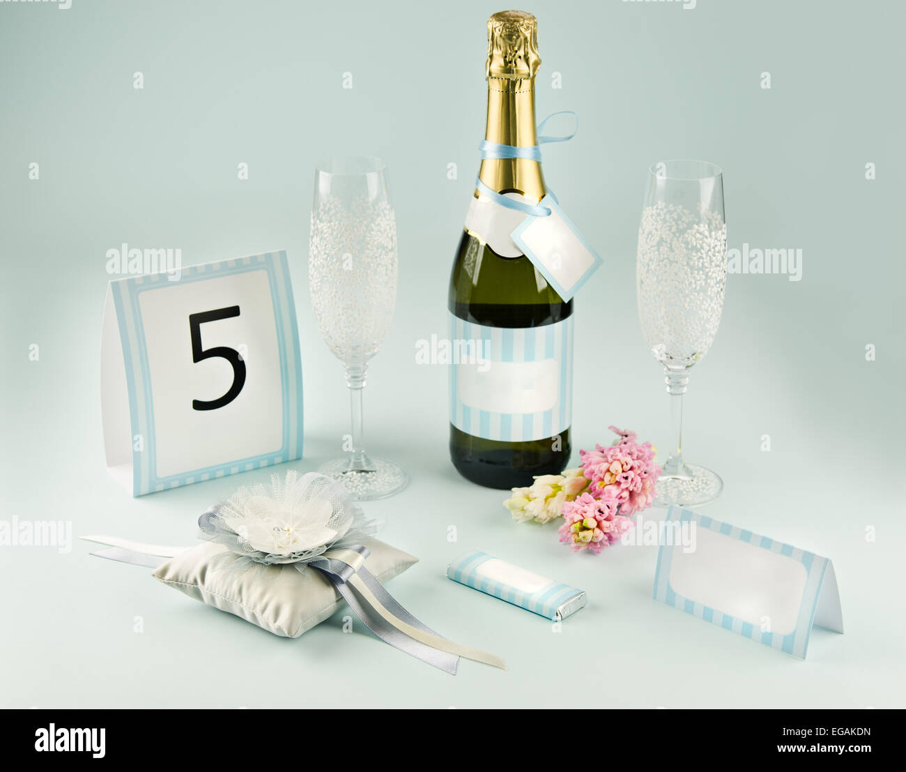 Wedding Table Accessories With Champagne Bottle And Glasses Stock