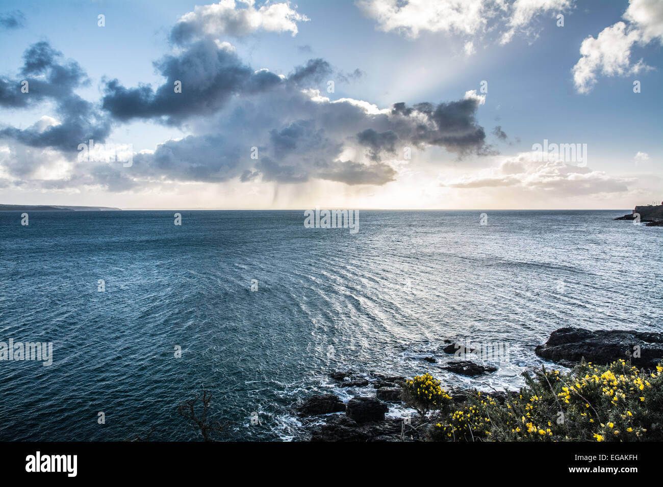 Mounts Bay, Cornwall, UK. 21st Feb, 2015. Cornwall is on alert this weekend as a 'supertide' threatens the - Stock Image