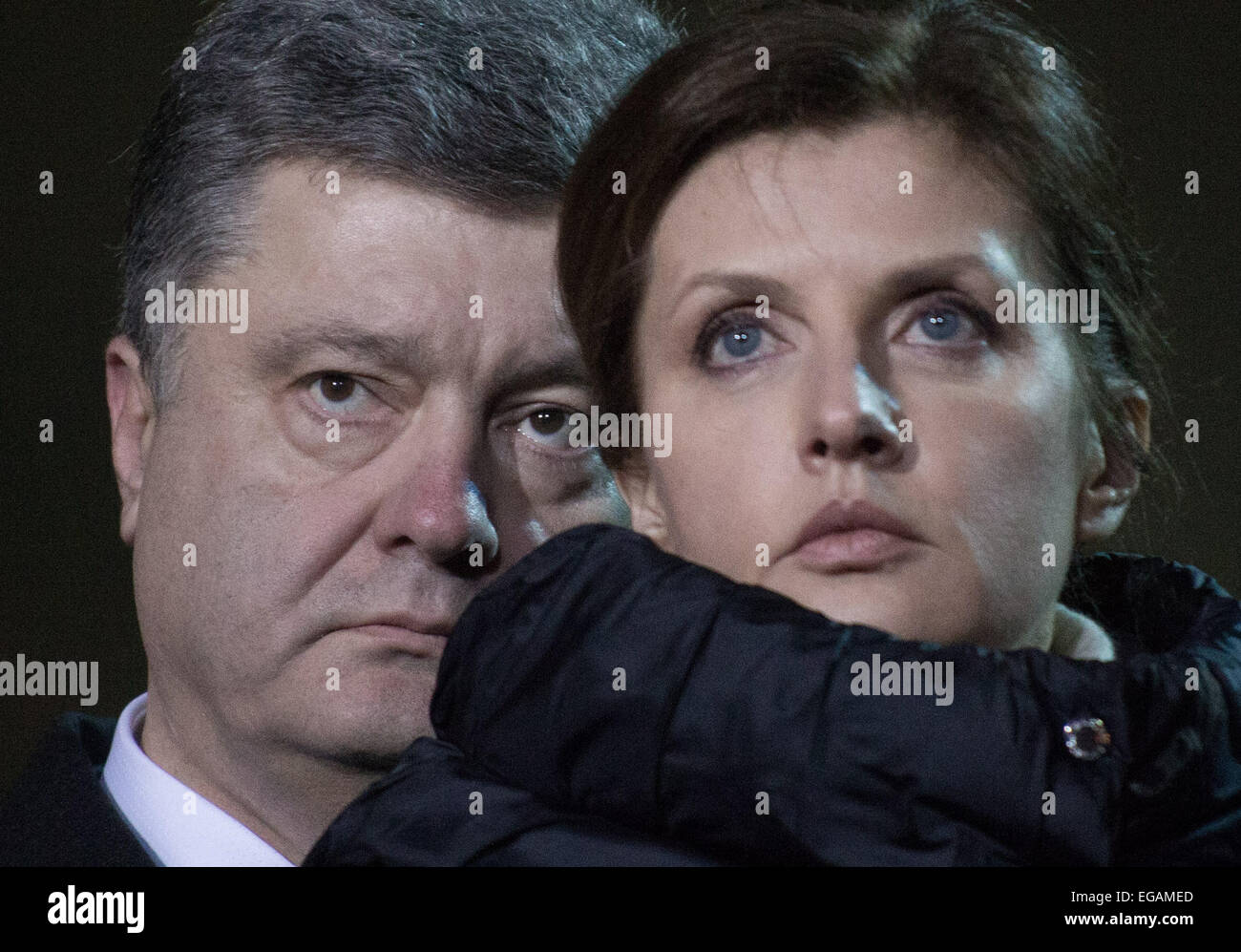 Kiev, Ukraine. 20th Feb, 2015. Ukraine's president Petro Poroshenko with his wife Marina attend an event in - Stock Image
